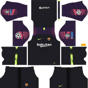 Barcelona UEFA Badge Goalkeeper Home Kit